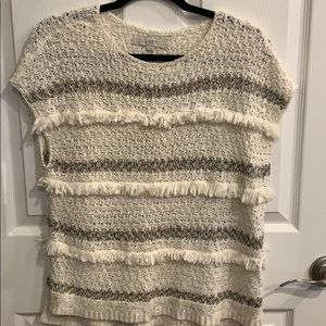 Loft cream sweater with fringe detail